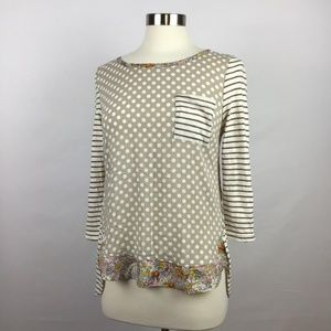Anthropologie High Low 3-4 Sleeve Tee Size Small